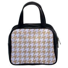 Houndstooth1 White Marble & Sand Classic Handbags (2 Sides) by trendistuff