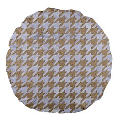 Houndstooth1 White Marble & Sand Large 18  Premium Flano Round Cushions by trendistuff