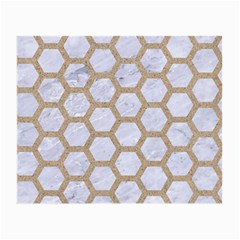 Hexagon2 White Marble & Sand (r) Small Glasses Cloth by trendistuff