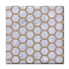 Hexagon2 White Marble & Sand (r) Face Towel by trendistuff