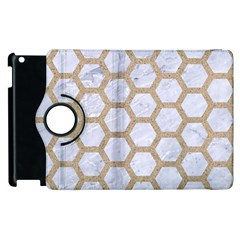 Hexagon2 White Marble & Sand (r) Apple Ipad 3/4 Flip 360 Case by trendistuff