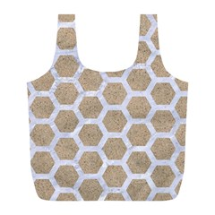 Hexagon2 White Marble & Sand Full Print Recycle Bags (l)  by trendistuff