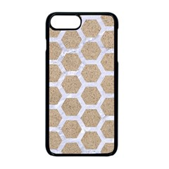 Hexagon2 White Marble & Sand Apple Iphone 8 Plus Seamless Case (black)