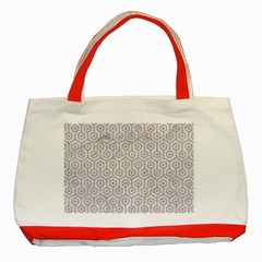 Hexagon1 White Marble & Sand (r) Classic Tote Bag (red) by trendistuff