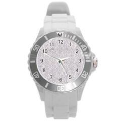 Hexagon1 White Marble & Sand (r) Round Plastic Sport Watch (l) by trendistuff