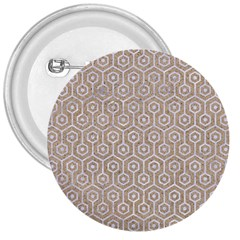 Hexagon1 White Marble & Sand 3  Buttons by trendistuff