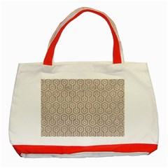 Hexagon1 White Marble & Sand Classic Tote Bag (red) by trendistuff