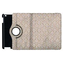 Hexagon1 White Marble & Sand Apple Ipad 3/4 Flip 360 Case by trendistuff
