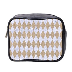 Diamond1 White Marble & Sand Mini Toiletries Bag 2 Side by trendistuff