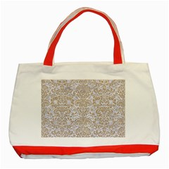 Damask2 White Marble & Sand (r) Classic Tote Bag (red) by trendistuff