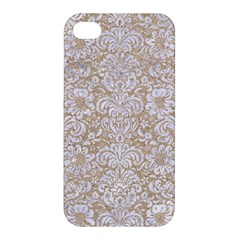 Damask2 White Marble & Sand Apple Iphone 4/4s Hardshell Case by trendistuff
