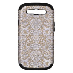 Damask2 White Marble & Sand Samsung Galaxy S Iii Hardshell Case (pc+silicone) by trendistuff