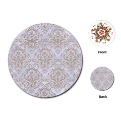 Damask1 White Marble & Sand (r) Playing Cards (round)  by trendistuff