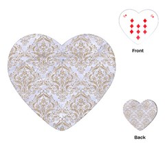 Damask1 White Marble & Sand (r) Playing Cards (heart)  by trendistuff