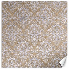 Damask1 White Marble & Sand Canvas 12  X 12   by trendistuff