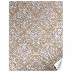 Damask1 White Marble & Sand Canvas 12  X 16   by trendistuff