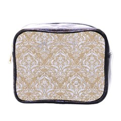 Damask1 White Marble & Sand Mini Toiletries Bags by trendistuff