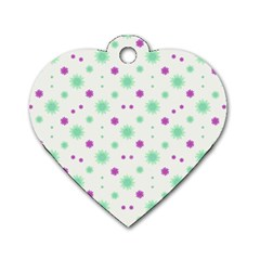 Stars Motif Multicolored Pattern Print Dog Tag Heart (two Sides) by dflcprints