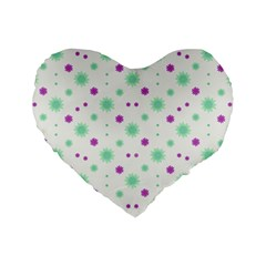 Stars Motif Multicolored Pattern Print Standard 16  Premium Flano Heart Shape Cushions by dflcprints