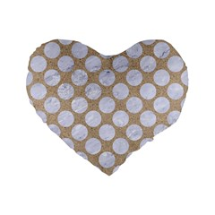 Circles2 White Marble & Sand Standard 16  Premium Flano Heart Shape Cushions by trendistuff