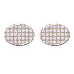 Circles1 White Marble & Sand Cufflinks (oval) by trendistuff