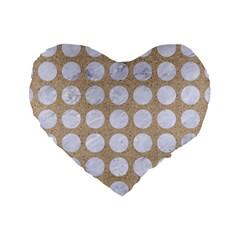 Circles1 White Marble & Sand Standard 16  Premium Heart Shape Cushions by trendistuff