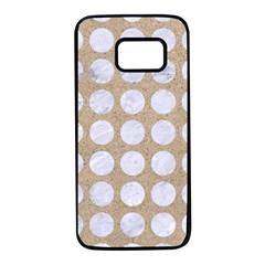 Circles1 White Marble & Sand Samsung Galaxy S7 Black Seamless Case