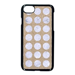 Circles1 White Marble & Sand Apple Iphone 8 Seamless Case (black)