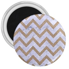 CHEVRON9 WHITE MARBLE & SAND (R) 3  Magnets