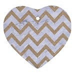 CHEVRON9 WHITE MARBLE & SAND (R) Ornament (Heart) Front