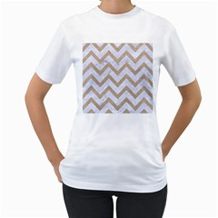 CHEVRON9 WHITE MARBLE & SAND (R) Women s T-Shirt (White) (Two Sided)