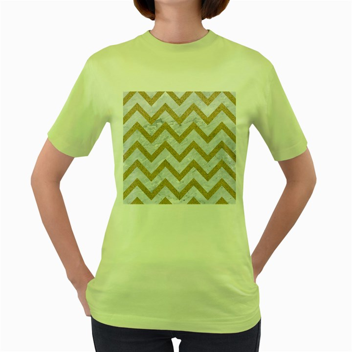 CHEVRON9 WHITE MARBLE & SAND (R) Women s Green T-Shirt