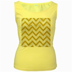 CHEVRON9 WHITE MARBLE & SAND (R) Women s Yellow Tank Top
