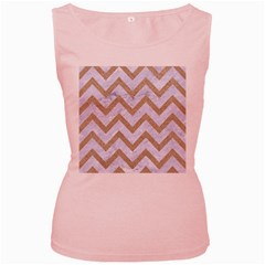CHEVRON9 WHITE MARBLE & SAND (R) Women s Pink Tank Top