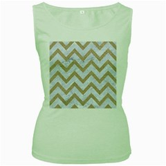 CHEVRON9 WHITE MARBLE & SAND (R) Women s Green Tank Top