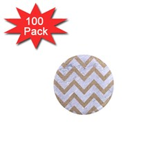 CHEVRON9 WHITE MARBLE & SAND (R) 1  Mini Magnets (100 pack)