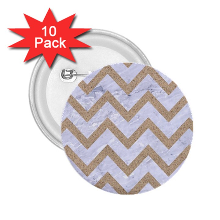 CHEVRON9 WHITE MARBLE & SAND (R) 2.25  Buttons (10 pack)