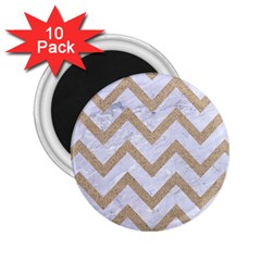 CHEVRON9 WHITE MARBLE & SAND (R) 2.25  Magnets (10 pack)