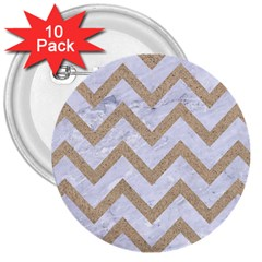CHEVRON9 WHITE MARBLE & SAND (R) 3  Buttons (10 pack)