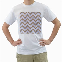 CHEVRON9 WHITE MARBLE & SAND (R) Men s T-Shirt (White) (Two Sided)