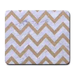 CHEVRON9 WHITE MARBLE & SAND (R) Large Mousepads