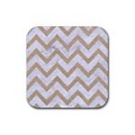 CHEVRON9 WHITE MARBLE & SAND (R) Rubber Coaster (Square)