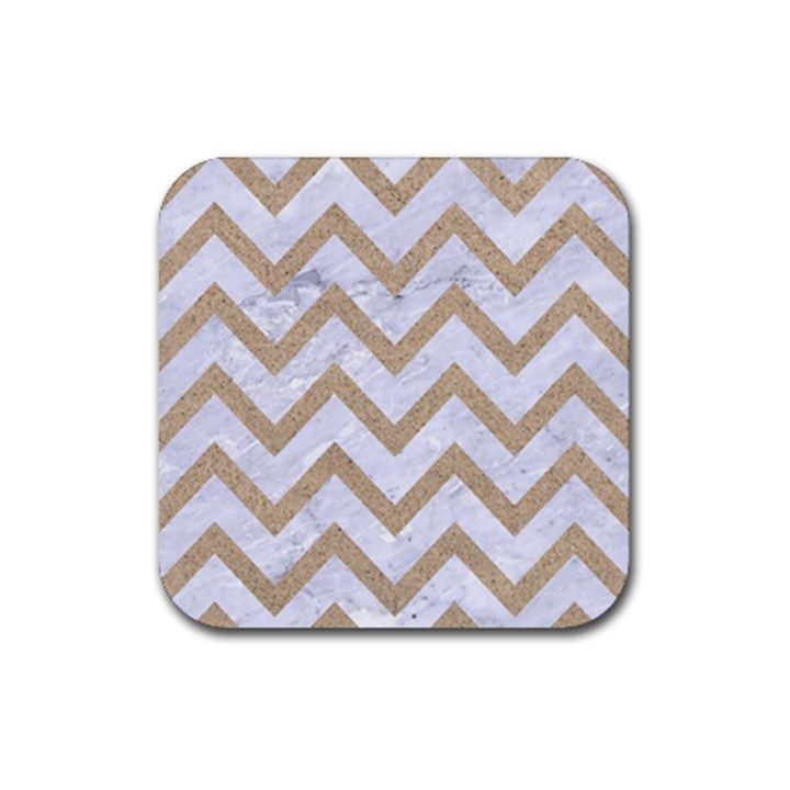 CHEVRON9 WHITE MARBLE & SAND (R) Rubber Coaster (Square)