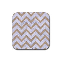 CHEVRON9 WHITE MARBLE & SAND (R) Rubber Square Coaster (4 pack)