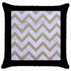 CHEVRON9 WHITE MARBLE & SAND (R) Throw Pillow Case (Black)