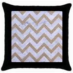 CHEVRON9 WHITE MARBLE & SAND (R) Throw Pillow Case (Black)