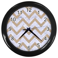 CHEVRON9 WHITE MARBLE & SAND (R) Wall Clocks (Black)