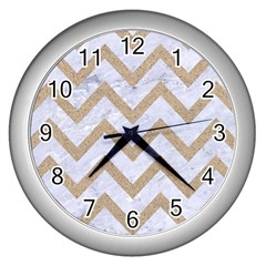 CHEVRON9 WHITE MARBLE & SAND (R) Wall Clocks (Silver)