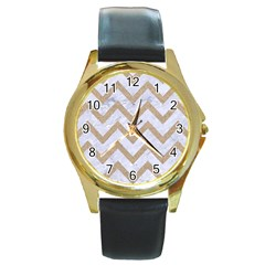 CHEVRON9 WHITE MARBLE & SAND (R) Round Gold Metal Watch