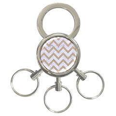 CHEVRON9 WHITE MARBLE & SAND (R) 3-Ring Key Chains